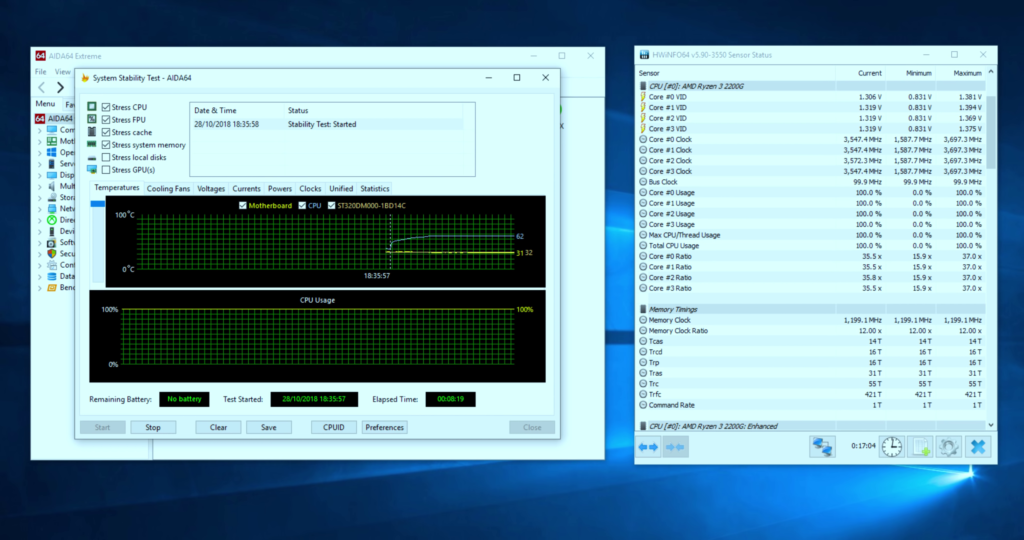 AIDA64 Stress Test Clock Speed