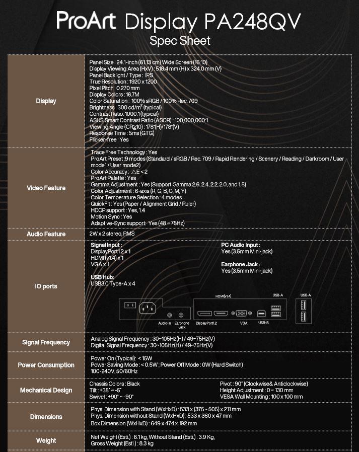 ProArt Display PA248QV specs