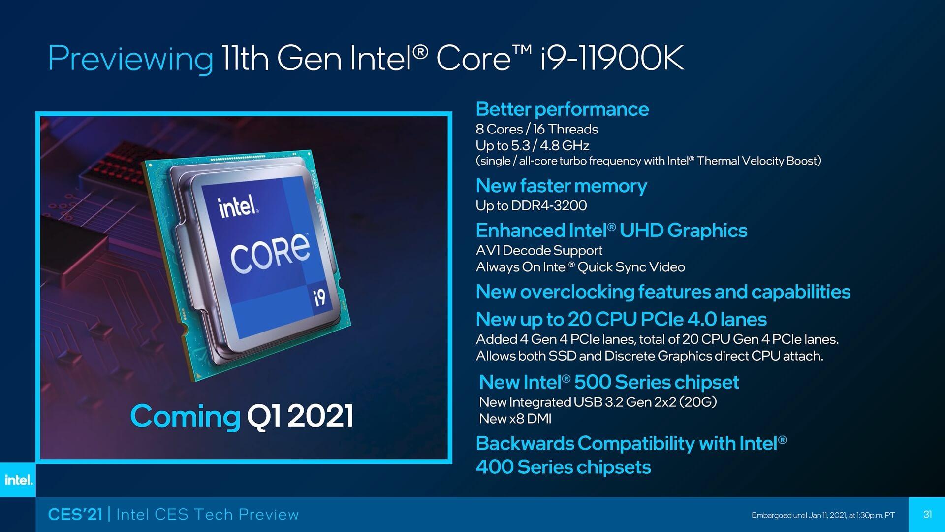 Intel Core i9 11900k Specs: